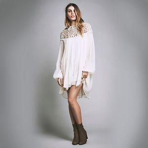 *free people* macrame lace mini dress ivory small